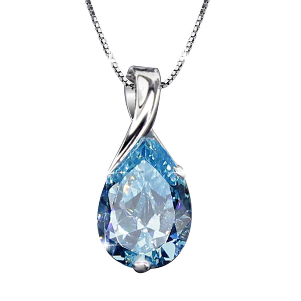 Aquamarine gemstones diamond pendant necklaces for women drop blue crystal white gold silver color choker jewelry gifts bijoux