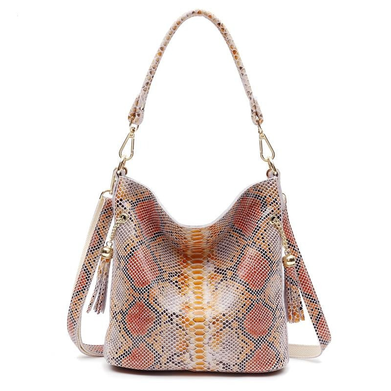 Arliwwi Real Leather Woman Snake Skin Hand Bags Luxury Designer Ladies Fashion Shoulder Handbags Genuine Leather GY02
