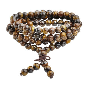 Ayliss 6/8mm 108 Beads Natural Tiger eye Stone Strand Bracelets Bangles or Necklace for Men Women Gift