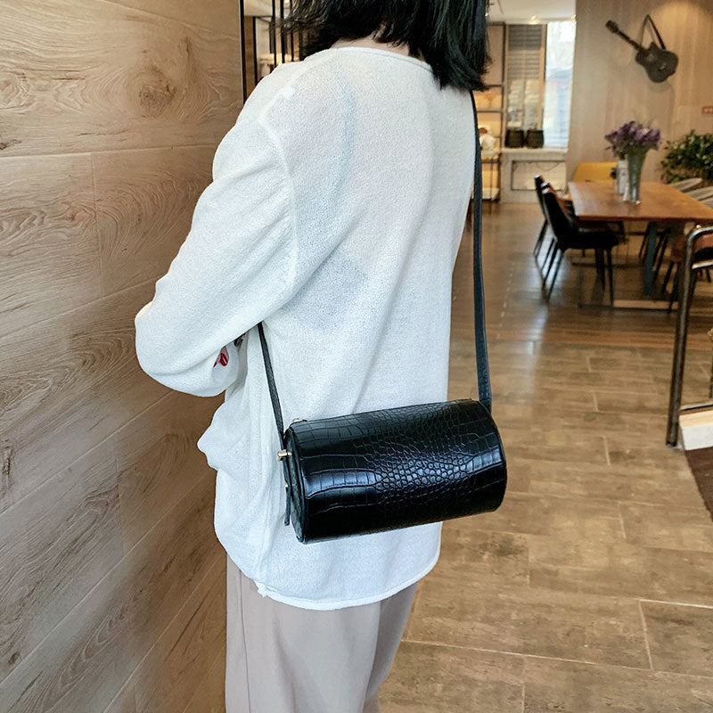 [BXX] Stone Pattern PU Leather Crossbody Bags For Women 2020 Spring Round Shoulder Messenger Bag Female Luxury Handbags HK785