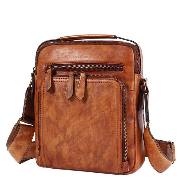 Bag leather men's bag leather men messenger bag casual shoulder bag korean retro handbag small crossbody bag 2020 new tide