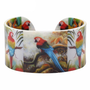 Bonsny Acrylic Jungle Animal Parrot Pattern Wide Love Bird Bracelets Bangles 2017 New Fashion Jewelry For Women Charm Girl