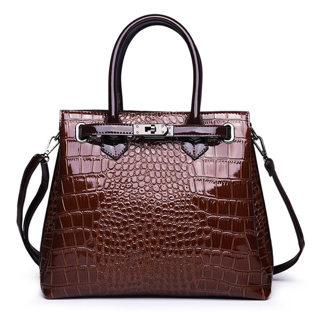 Bright Surface WOMEN'S Handbag Crocodile Large Bag European And American Fashion Buckle Shoulder Briefcase New Style