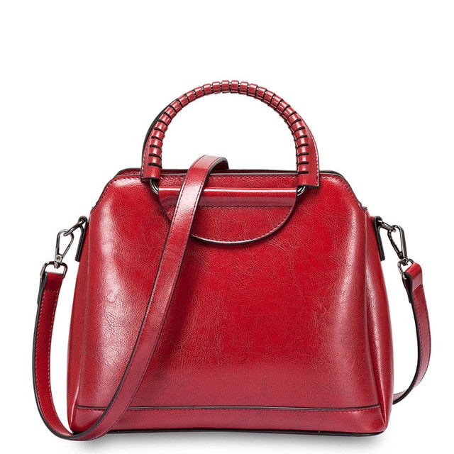 Burminsa Vintage Shell Women Genuine Leather Handbags Metal Handle Female Tote Bags Ladies Shoulder Messenger Bags Spring 2020