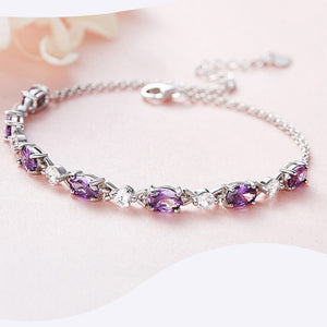 CDE Luxury Embellished with crystals Bracelet jewelry purple 925 sterling silver fine jewelry woman Romantic gift