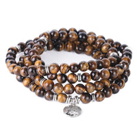 CSJA 108 Chakra Natural Gem Stone Tiger Eye Homme Bracelets Japamala 8mm Mala Beads Wrapped Bangle Men Meditation Jewellery F411