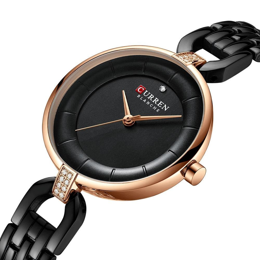 CURREN Black Watch Women Bracelet Luxury Quartz Analog Stainless Steel Watches for Women Waterproof Fashion Ladies Dress Watch