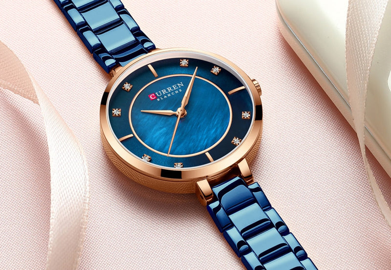 CURREN Rhinestone Watch Women Quartz Analog Metal Band Luxury Wrist Watches for Women Waterproof Ladies Fashion Dress Watch