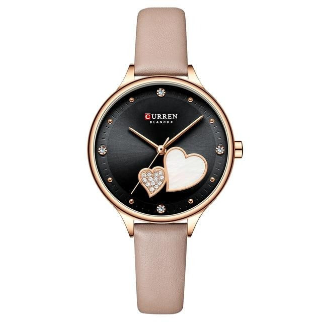 CURREN Women's Watches Top Brand Luxury Quartz Leather Wristwatch with Rhinestone Elegant Thin Clock for Female