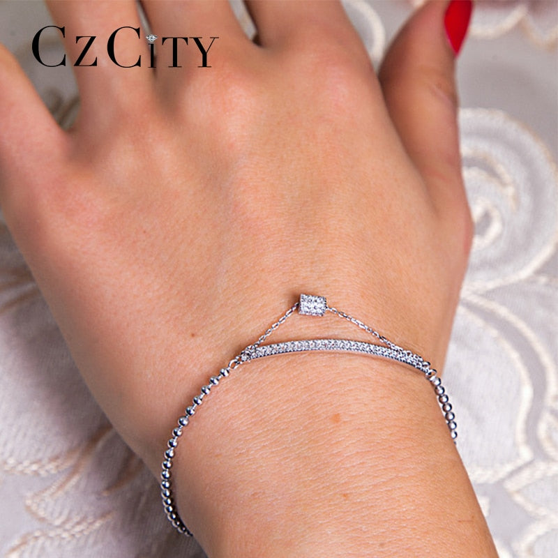 CZCITY Brand The 925 Pure Silver Bracelet Jewelry  Charm Bracelet Simple Style Girl Gift Jewelry Delicate Chain Bracelet