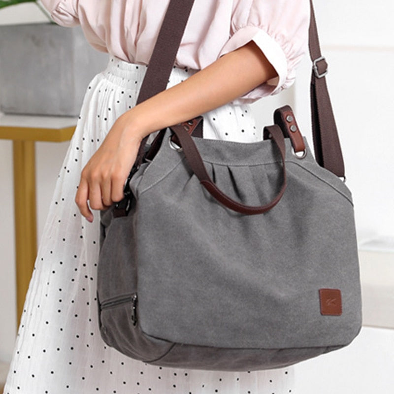 Casual Canvas Tote Bag Wild Fashion Canvas Messenger Bag Retro Shoulder Bag Ladies Big Bag