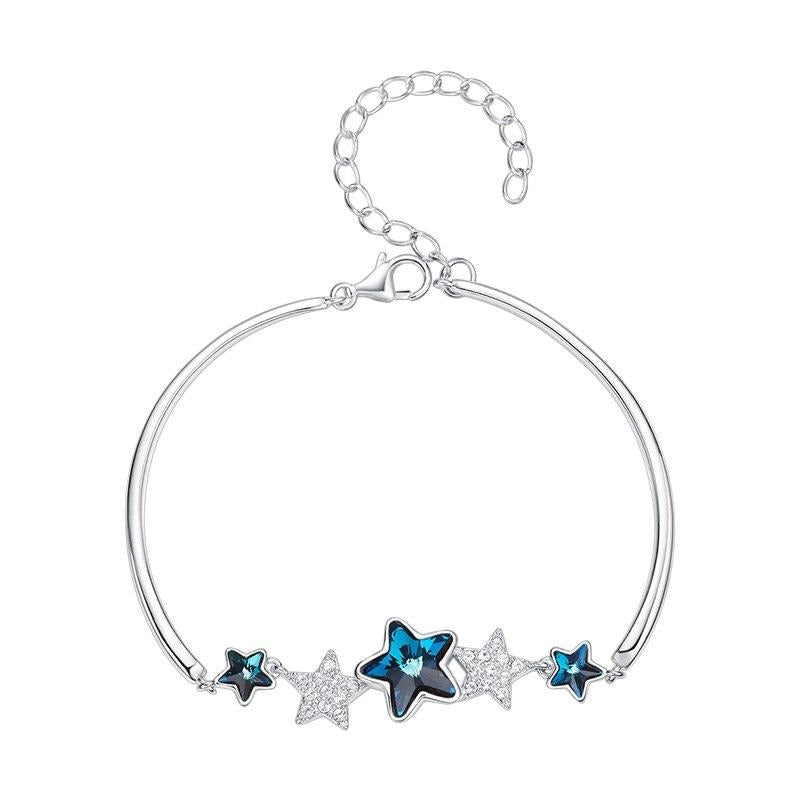 Cdyle Bracelets Women Embellished with crystal Bangle Star Shape 925 Sterling Silver Fashion Jewelry