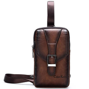 Celinv Koilm New Vintage Men Shoulder Bag Fashion Business Leather Crossbody Sling Messenger Bags Chest Daypack For Men Cool