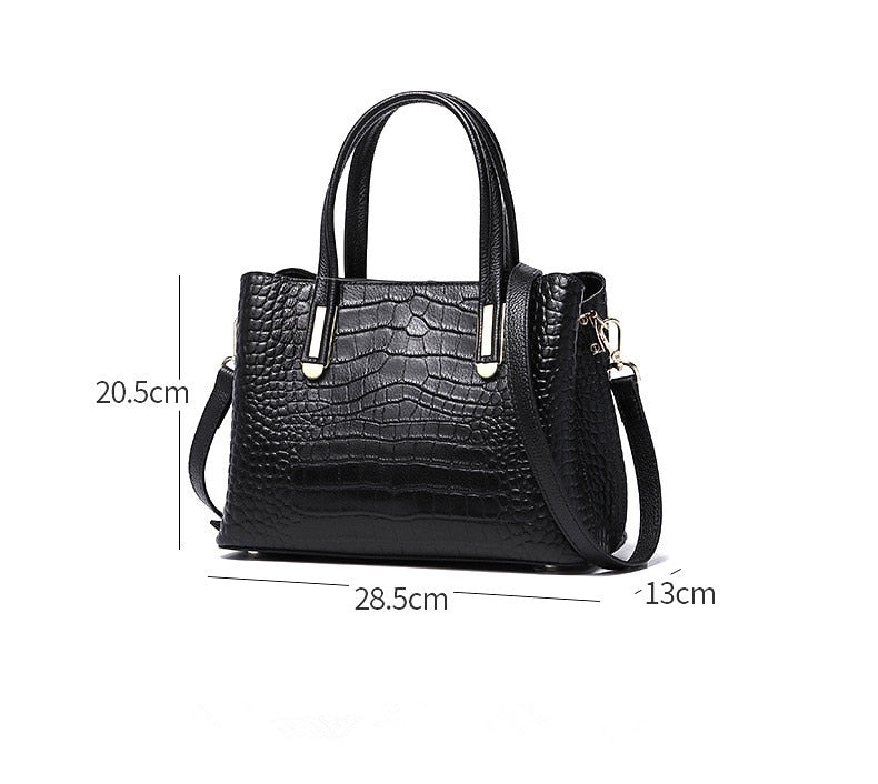 Classic Crocodile Pattern Genuine Leather Women Handbag 2021 Spring New Style Lady Cowhide Leather Shoulder Bag