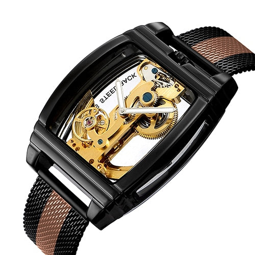 Classic Fashion Automatic Mechanical Wristwatch Men Transparent Watch Skeleton Stainless Steel Bracelet Mesh Strap Men's Watches