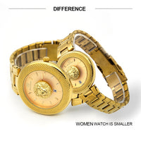 Couples Quartz Watch For Men Women Lovers Watches with Lion Luxury Fashion Casual Lady Mens Womens Stainless Steel Wristwatches