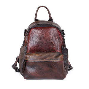 Cowhide Retro Style Women Genuine Leather Backpack Patchwork Handwork Ladies Luxury Backpack Fashion Mochila for Teenager 2019