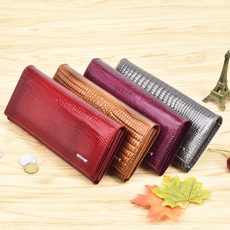 DICIHAYA Leather Wallet Women Classic Alligator Hasp Long Wallets Female Cards Holder Clutch Bag Fashion Cowhide Ladies Purses