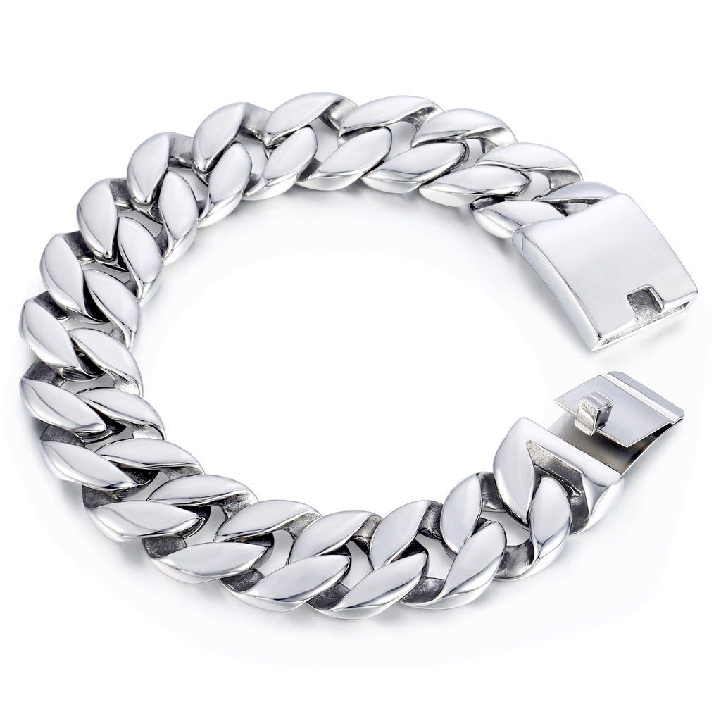 Davieslee Curb Cuban Link Bracelet Mens Bracelet Fashion Jewelry 316L Stainless Steel Silver Color 18mm DHB471