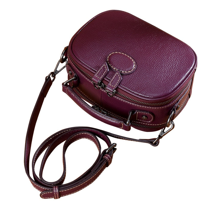Difenise Woman Fashion Genuine Cowhide First Leather Handbags Vintage Solid Zipper Saddle bags Ladies Tote Bags