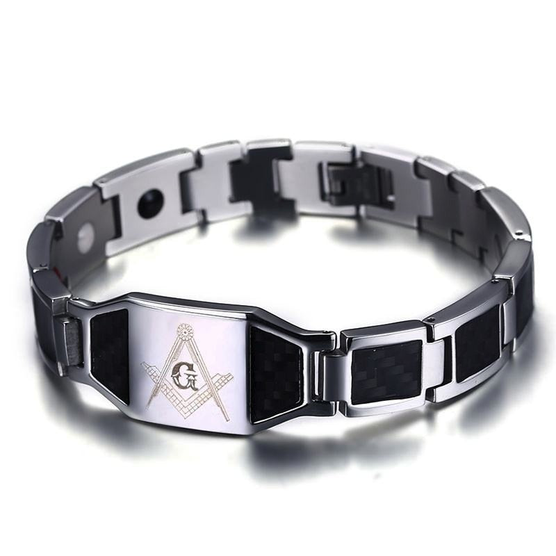 Distinctive Cars Style Men's Stainless Steel Masonic Magnetic Bracelet with Black Carbon Fiber Hologram Bracelets Male Jewelry