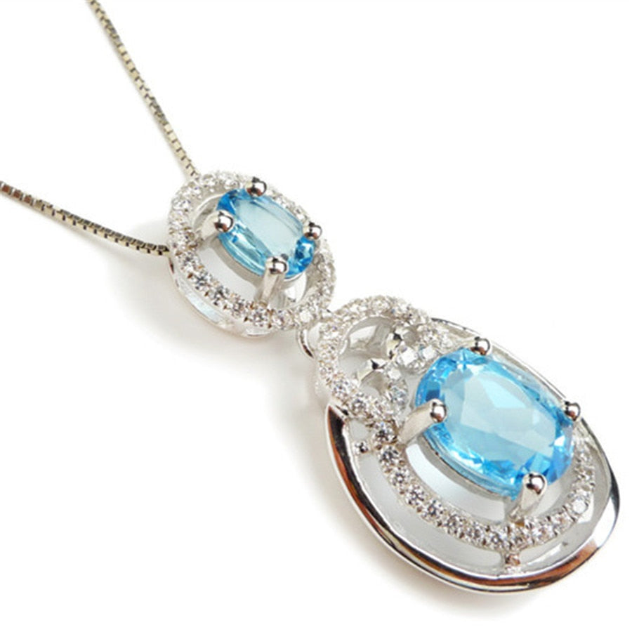Drop Shipping Genuine Blue Natural Stone Pendant Women Female Zircon Jewelry Healing Crystal Fashion Pendant