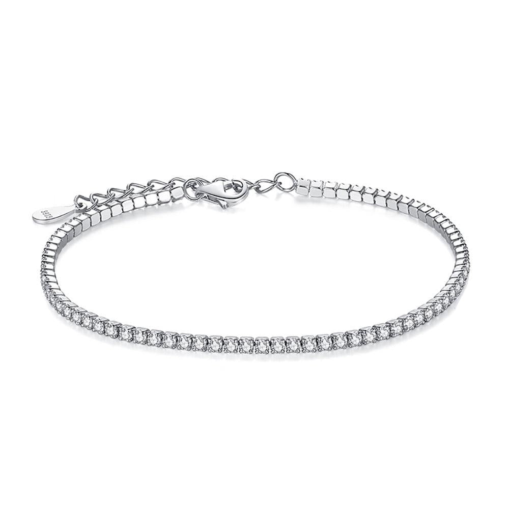 ELESHE 100% 925 Sterling Silver Tennis Bracelet Adjustable Chain Cubic Zirconia Crystal Wedding Bracelets for Women Fine Jewelry
