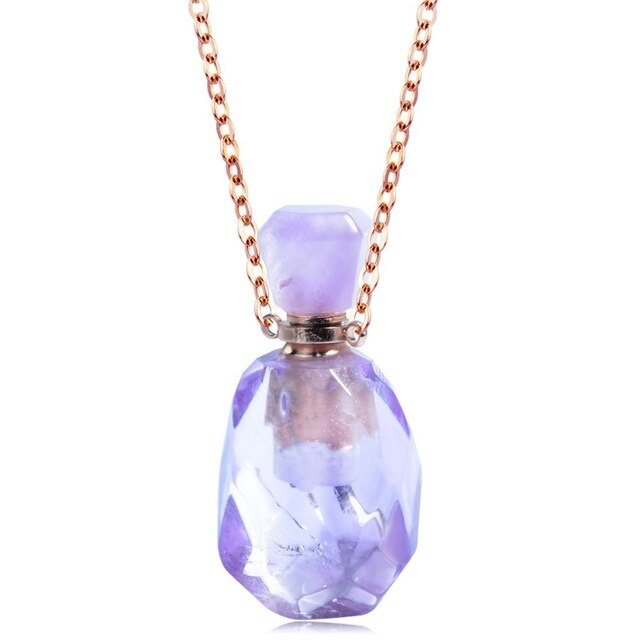 EUDORA purple clear Crystal CZ Essential Oil Perfume Bottle Pendant Necklaces Stainless Steel DIY Jewelry CZ Healing Necklace