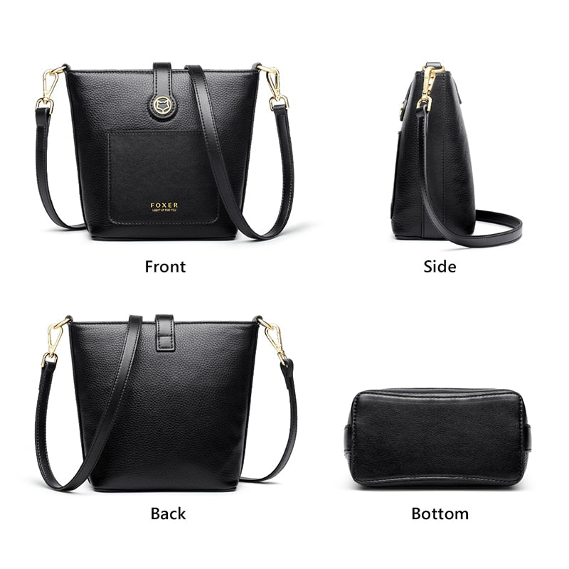 FOXER 100% Genuine Leather Women Commute Shoulder Bucket Bag High Quality Classical Vintage Ladies Outdoor Mini Crossbody Bag