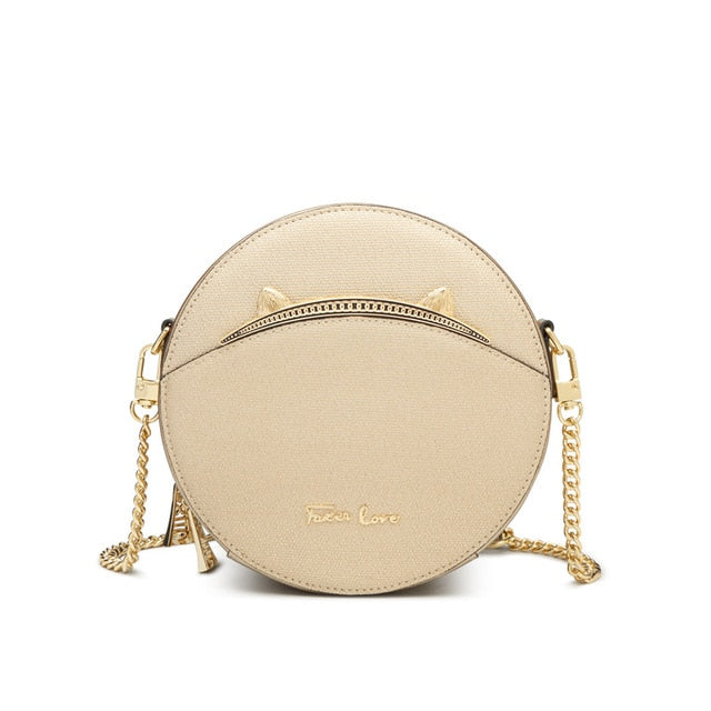 FOXER Girl's Casual Round Shoulder Bag Chic Luxury Gold Evening Bag for Lady High Quality Cow Leather Women's Cross-body Bag