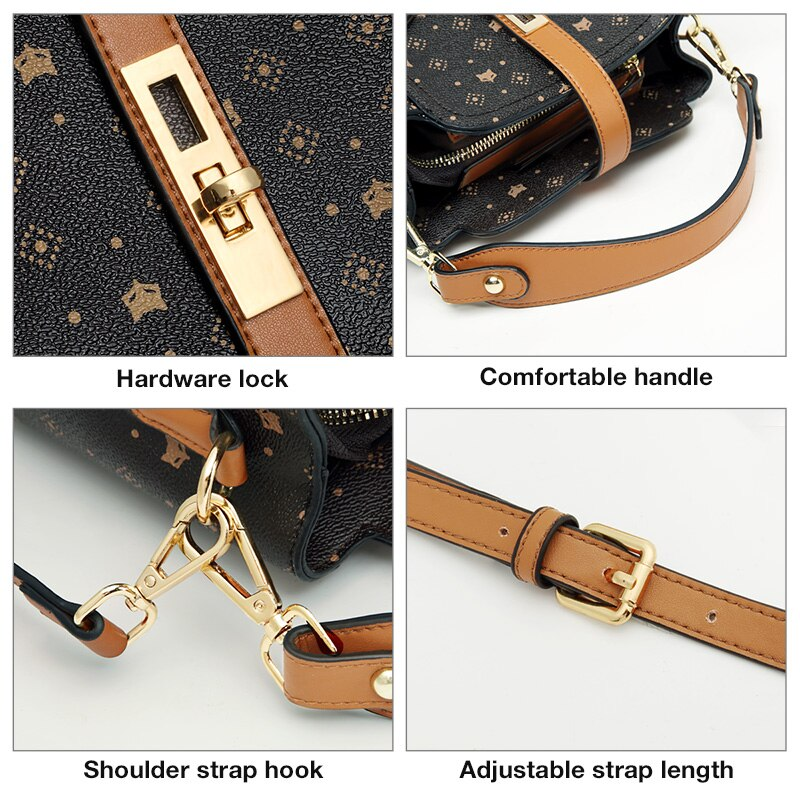 FOXER Signature Small Shoulder Bag Lady Monogram Retro Handbag Fashion Women Vintage Female PVC Crossbody bag Purse