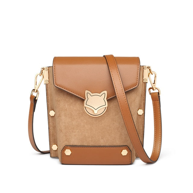 FOXER Vintage Lady Crossbody Phone Bags Large Capacity Split Leather Bucket Bag Shoulder Flip Bag Commute Small Messenger Bags