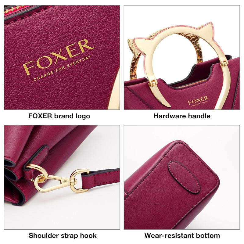FOXER Women's Handbags Cowhide Leather Totes Luxury Large Capacity Crossbody Shoulder Bags Female Purse Lady Fall Winter Bag