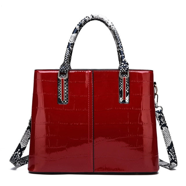 FUNMARDI Luxury Handbag Women Bags Crocodile PU Leather Designer Female Shoulder Crossbody Bag Snake Top-Handle Bags WLHB2152