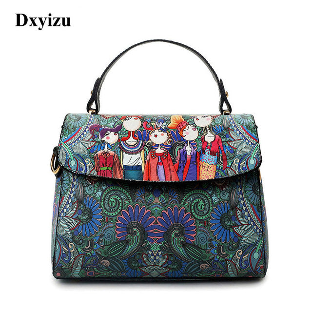 Fashion Designer Luxury Brand PU Leather Bolsas Femininas Women Bag Ladies Green Character Handbag Shoulder Bags Female Tote