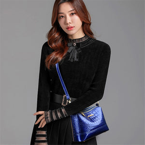 Fashion Tide Women Luxury Shoulder Bag Stone Pattern High Quality Patent Leather Vintage Crossbody Bag Ladies Designer Handbags
