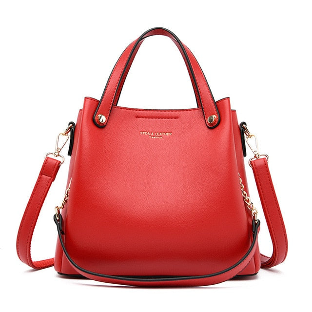 Fashion Women Handbags Large Capacity Bag Pu Leather Shoulder Bag With Chain Multi Pocket Designer Crossbody Luxury Brand Red