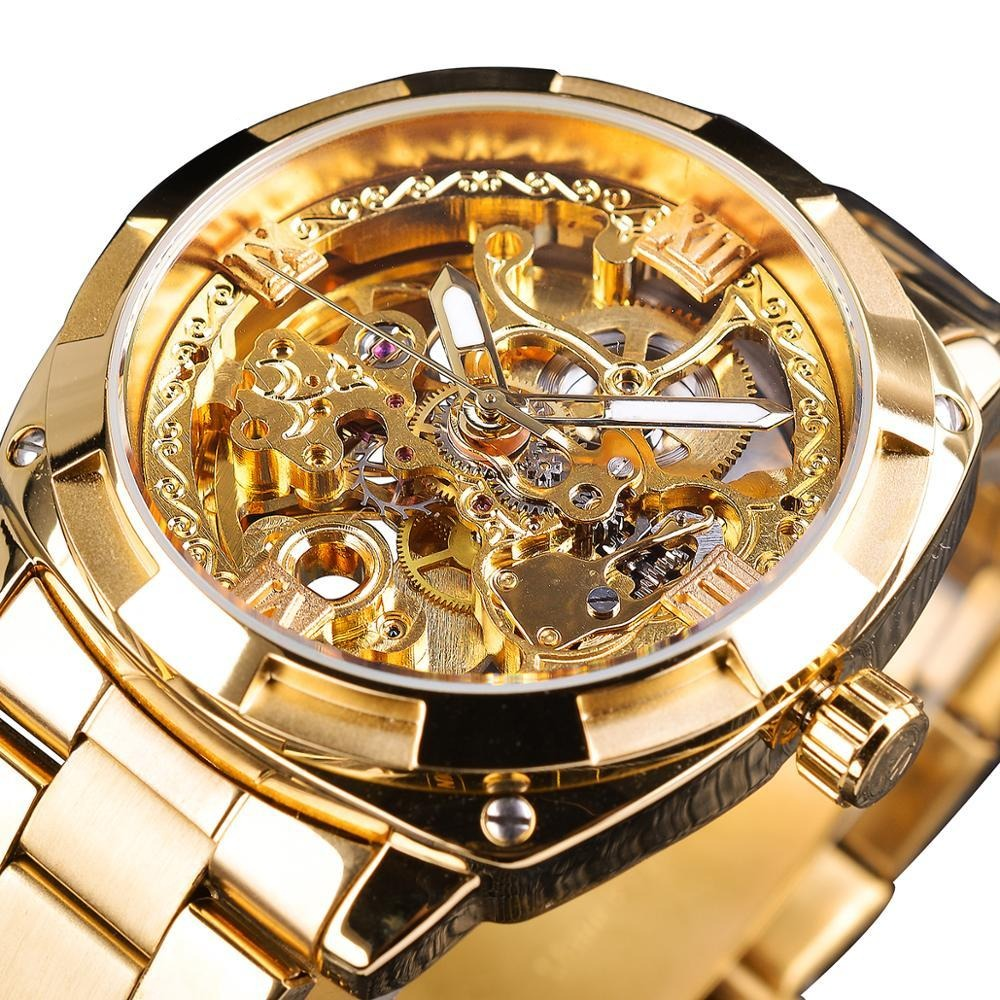 Forsining Fashion transparent Retro Men's Automatic Mechanical Watch Top Brand Luxury Full Golden Luminous Hands Skeleton Clock