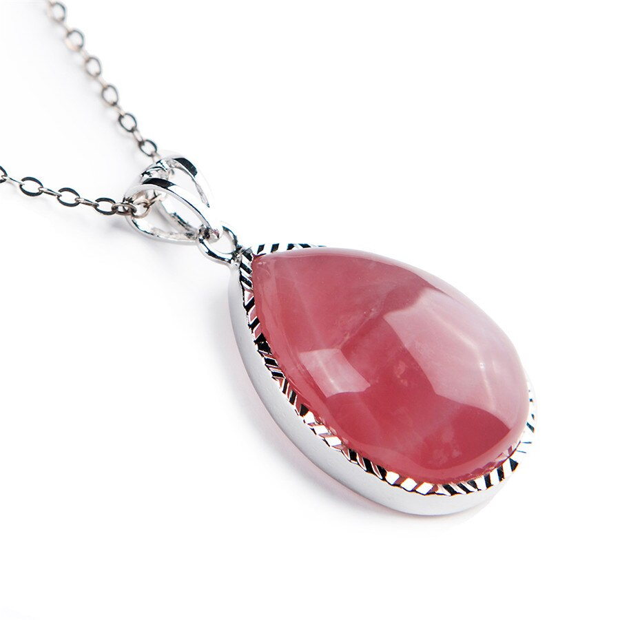 Free Shipping Genuine Madagascar Natural Pink Quartz Crystal Water Drop Bead Women Lady Fashion Necklace Crystal Stone Pendant