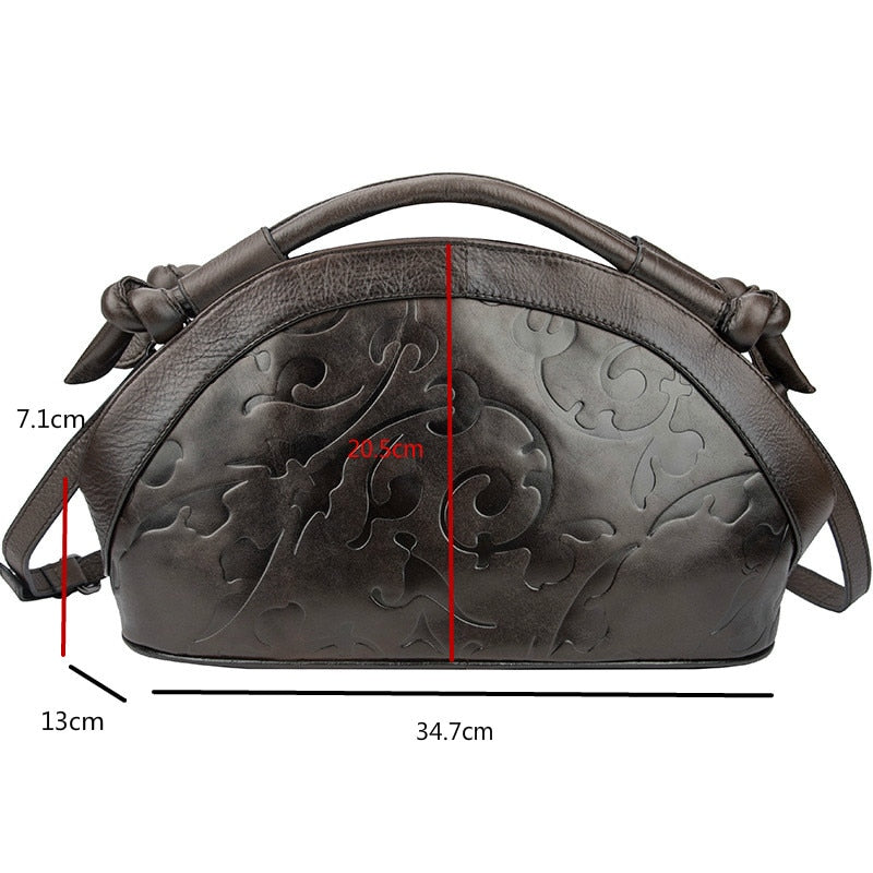 GAGACIA Retro Handmade Women Shoulder Bags For Female Genuine Leather Handbags Hobos 2021 New Luxury Ladies Vintage Embossed Bag