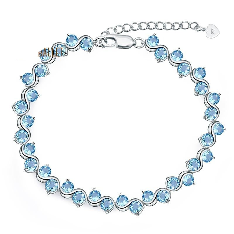 GEM'S BALLET Swiss Blue Topaz Genuine 925 sterling silver Natural Gemstones Bracelets&bangles Luxury Fine Jewelry For Woman