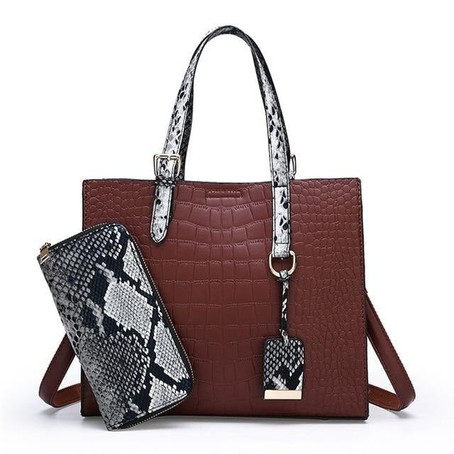 Genuine Leather 2 in 1 Crocodile pattern bag Luxury Handbags Women Bags Designer Branded Handbags For Women Purses And Handbags