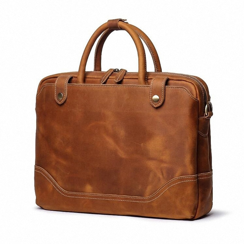 Genuine Leather Computer Tote Handbag For Macbook Pro 15 Men Laptops Luxury Handbags Man Bag Designer High Quality Shoulder Bags