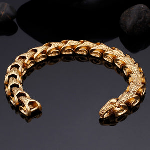 Gold Color Keel Chain Bracelet Man Mens Bracelets 2018 Vintage Punk Rock Friendship Stainless Steel Hand Jewelry Accessories New