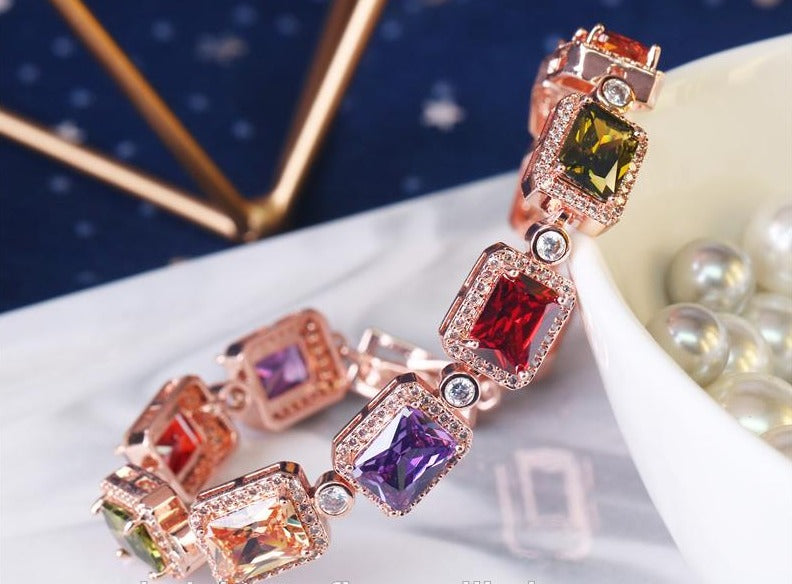 Beautiful Cubic Zirconia Rainbow Bracelet for Women