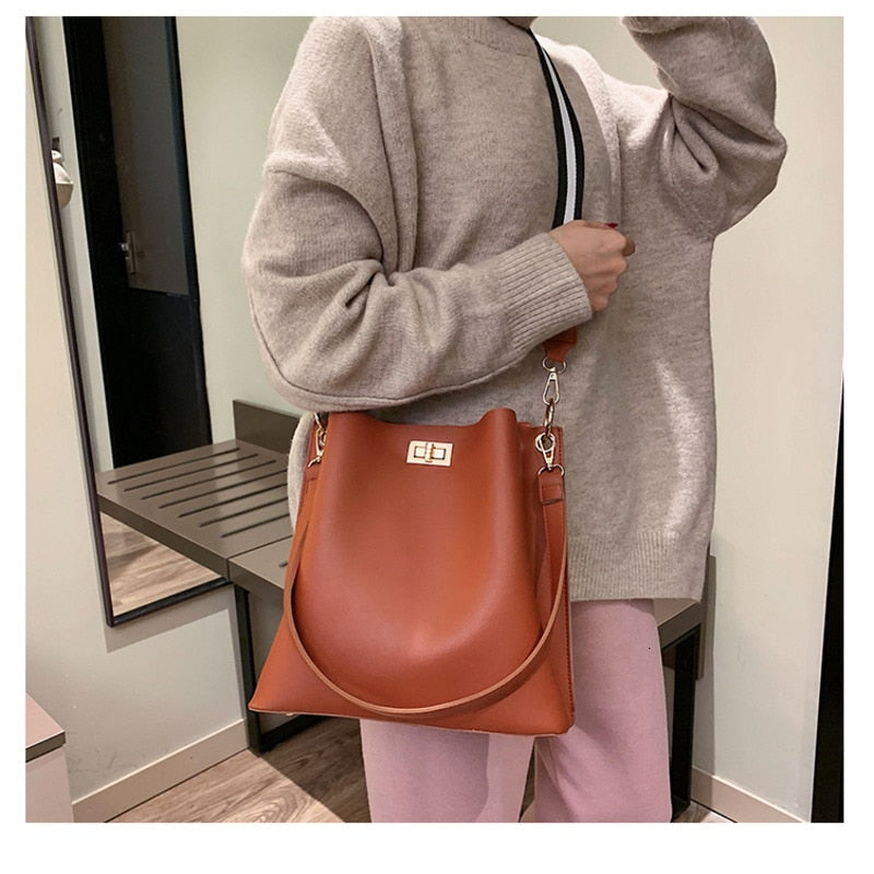 High Quality Hot Sale New Women  PU Leather Handbags Fashion Designer Black Bucket Vintage Shoulder Bags Messenger Bag