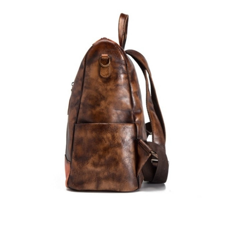 High Quality Natural Leather Women Backpack Daypack Travel Bag Large Capacity Retro Vintage Knapsack Genuine Leather Rucksack