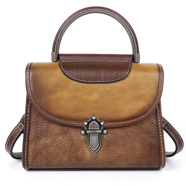 High Quality Real Cowhide Women Messenger Shoulder Tote Bags Female Pouch Vintage Luxury Genuine Leather Cross Body Bags Handbag