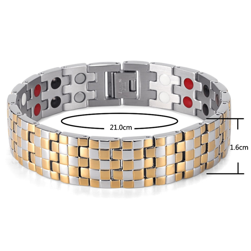 Hot Sale Fashion Rainso Brand Double Row 4 Elements Stainless Steel Tharepy Bracelet Link Wrist Polished For Men OSB-1044