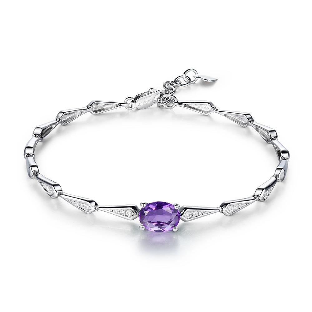 I&zuan 925 Sterling Silver Natural Amethyst Stone Purple Crystal Bracelet For Women Fine Jewelry Bangels Fashion Accessory 0257